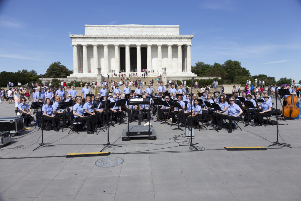 Lake Oswego Millennium Concert Band performing at the Lincoln Memorial